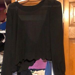 Long sleeve scalloped blouse